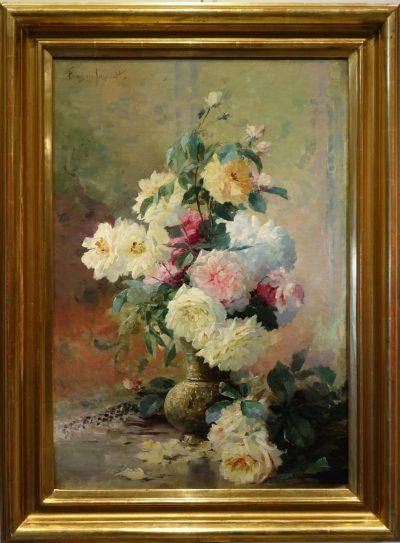 Roses in a vase - FURCY de LAVAULT (1847-1915) la credence antiques paris