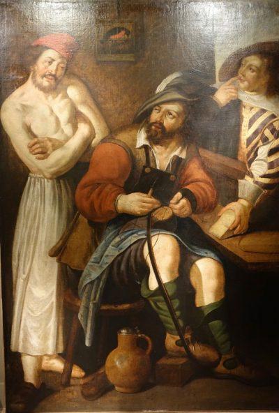 Tableau peinture flamande du 17e siecle le savetier la credence antiquites paris