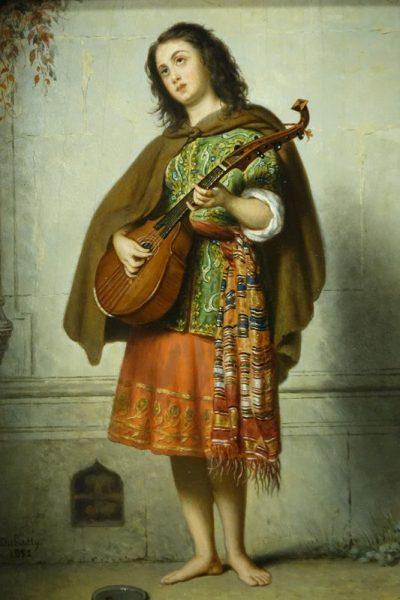 Mandolin player - Adolphe Henri DUBASTY la credence antiques  paris