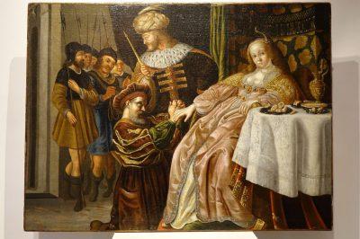 Tableaux Haman implorant la clemence d Esther 12 antiquites la credence paris